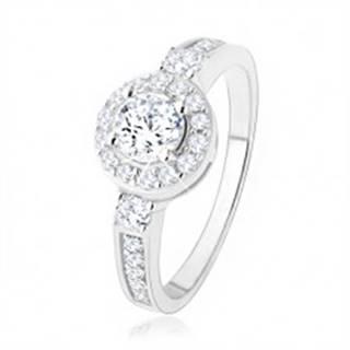 Strieborný zásnubný prsteň 925, číre zirkónové slnko, ligotavé kamienky SP47.05 - Veľkosť: 50 mm