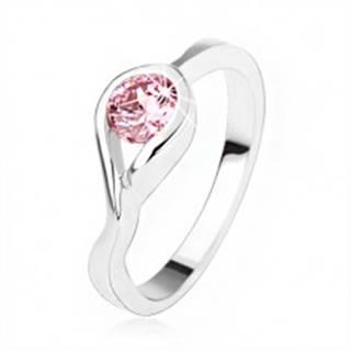 Strieborný zásnubný prsteň 925, okrúhly ružový zirkón, zatočené ramená SP47.03 - Veľkosť: 50 mm