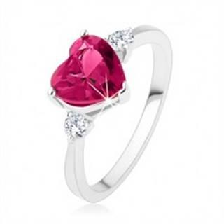 Zásnubný prsteň - ružové zirkónové srdce, dva číre kamienky, striebro 925 SP42.19 - Veľkosť: 49 mm