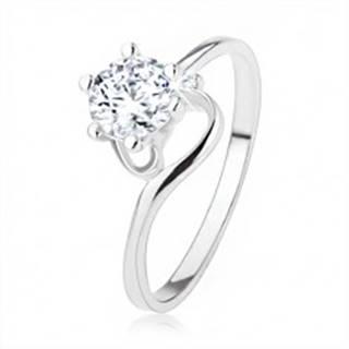 Zásnubný prsteň zo striebra 925, úzke zatočené ramená, číry zirkón - Veľkosť: 49 mm