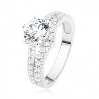 Zásnubný prsteň zo striebra 925 - veľký číry kamienok, rozdvojené zirkónové ramená SP42.18 - Veľkosť: 49 mm