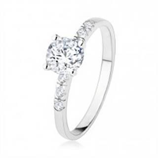 Zásnubný strieborný prsteň 925, číry zirkón, trblietavé kamienky, vrúbkovanie SP40.16 - Veľkosť: 50 mm