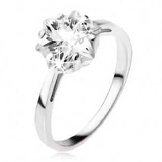 Zásnubný strieborný prsteň 925, masívny číry zirkón - hviezdica SP49.09 - Veľkosť: 49 mm