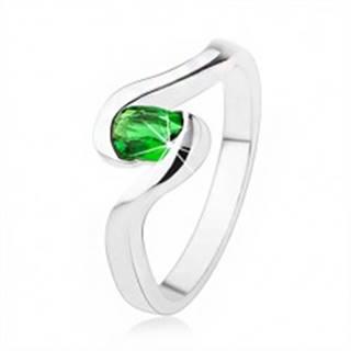 Zásnubný strieborný prsteň 925 - zvlnené ramená, tmavozelený oválny kamienok SP42.16 - Veľkosť: 49 mm
