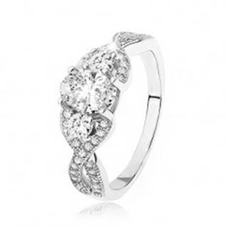 Žiarivý strieborný prsteň 925, prekrížené zvlnené ramená, oválny zirkón SP49.24 - Veľkosť: 49 mm