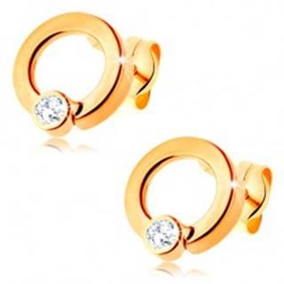 Zlaté diamantové náušnice 585 - lesklá obruč s briliantom čírej farby