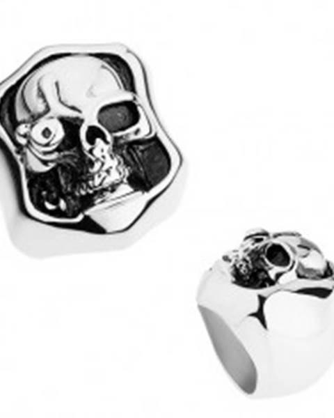 Masívny prsteň z ocele 316L, strieborná farba, patina, lebka s umelým okom T21.14 - Veľkosť: 56 mm