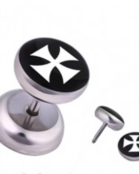 Oceľový fake piercing do ucha, biely maltézsky kríž