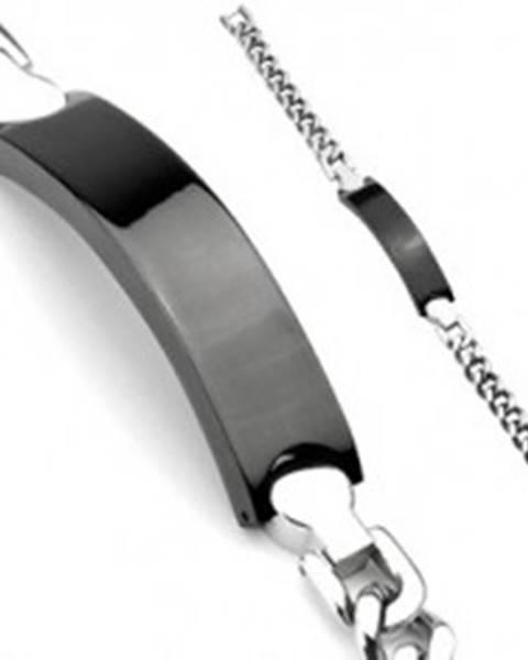 Oceľový náramok - retiazka, čierna známka