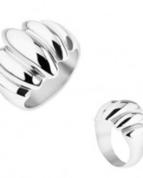 Oceľový prsteň striebornej farby, zrkadlový lesk, vypuklé ovály SP52.12 - Veľkosť: 57 mm
