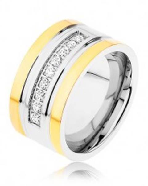 Oceľový prsteň zlatej a striebornej farby, trblietavá zirkónová línia, zárezy - Veľkosť: 57 mm