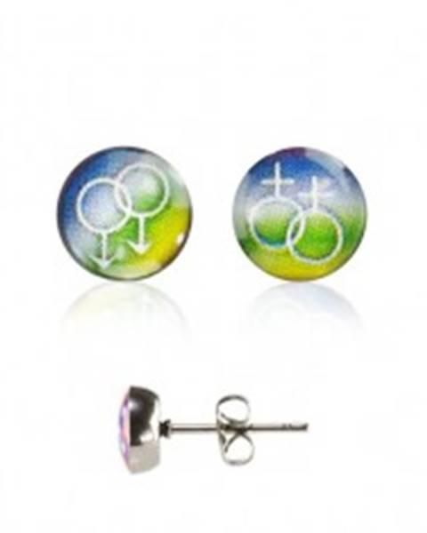 Okrúhle náušnice - GAY PRIDE - Symbol: ON a ON