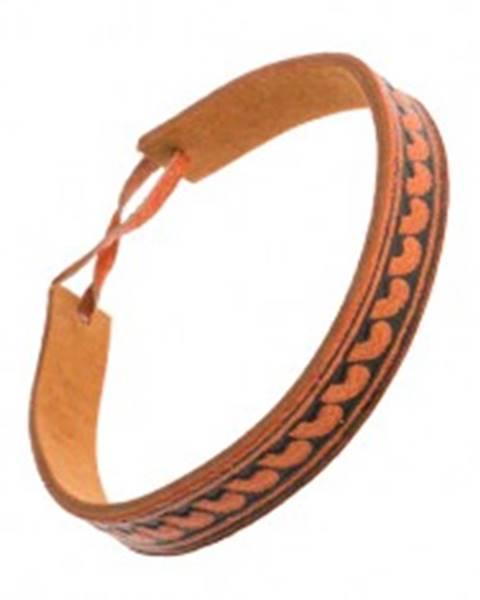 Oranžovohnedý kožený náramok, úzky pásik s poloblúkovým vzorom SP50.15