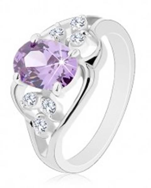 Prsteň s rozdelenými ramenami, zvlnené línie, oválny zirkón fialovej farby - Veľkosť: 49 mm