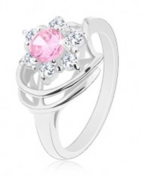 Prsteň v striebornej farbe, ružovo-číry zirkónový kvet, lesklé oblúky - Veľkosť: 49 mm