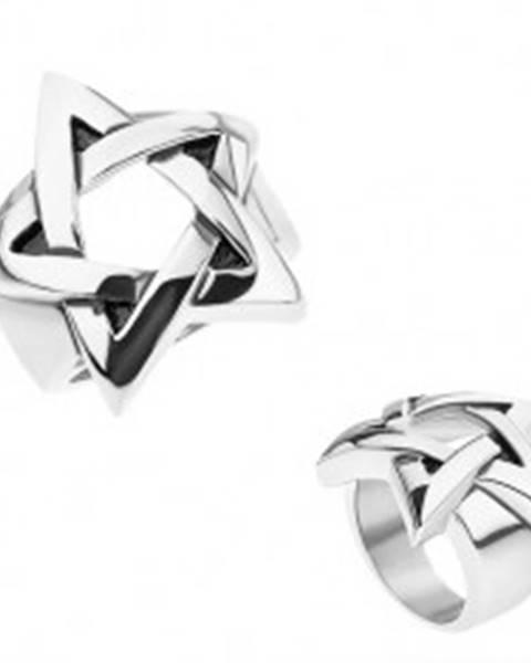 Prsteň z chirurgickej ocele, strieborná farba, patinovaný pentagram - Veľkosť: 56 mm