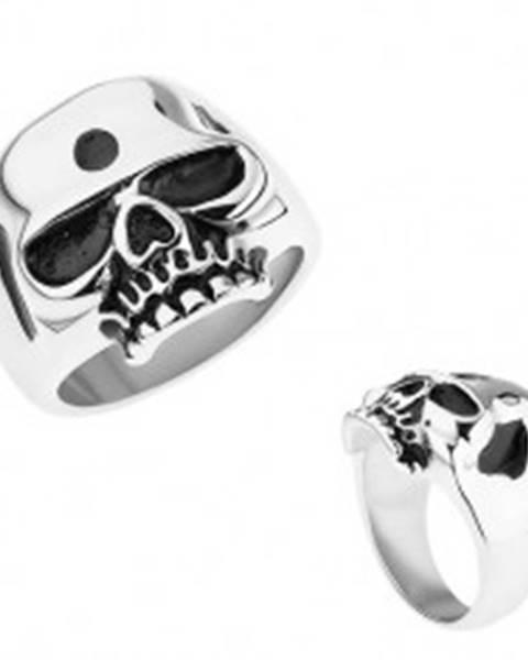 Prsteň z ocele 316L, strieborná farba, lesklá lebka, patinované časti - Veľkosť: 56 mm