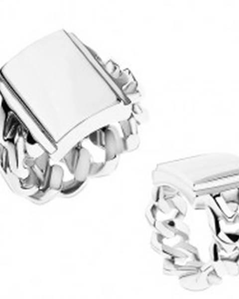 Prsteň z ocele, strieborná farba, ramená s očkami, zrkadlovolesklý obdĺžnik T18.17 - Veľkosť: 55 mm