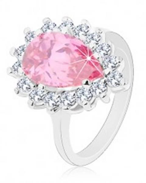 Trblietavý prsteň s úzkymi ramenami, ružová zirkónová slza, okrúhle zirkóniky - Veľkosť: 49 mm