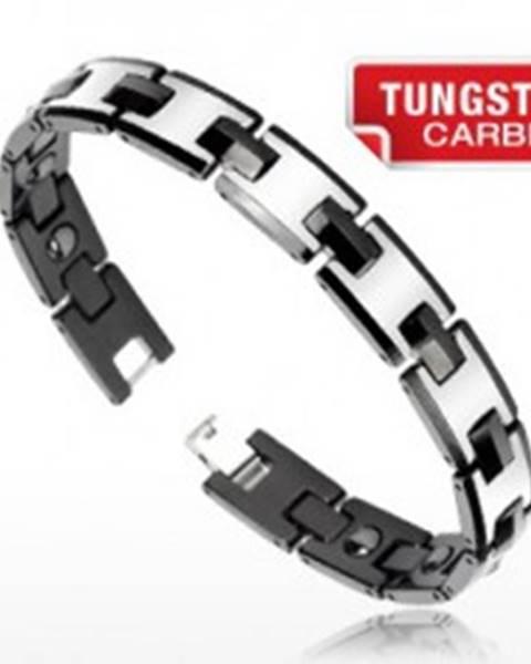 Tungstenový magnetický náramok - strieborná a čierna farba, lesklé články Q24.17