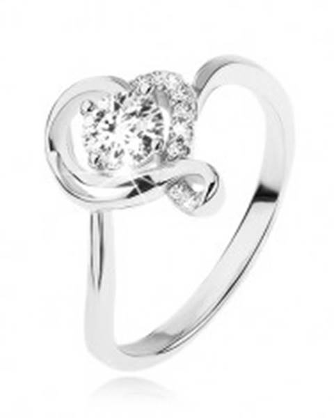 Zásnubný prsteň zo striebra 925, okrúhly číry zirkón v obryse zvlneného srdca SP50.01 - Veľkosť: 49 mm