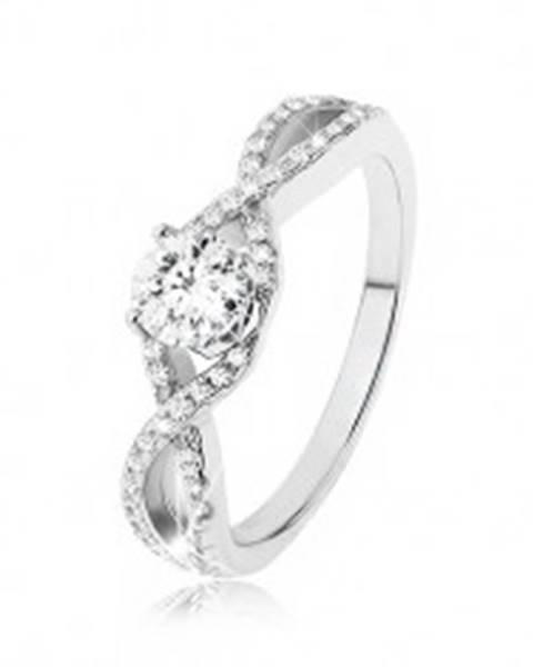 Zásnubný prsteň zo striebra 925, zirkónové vlny, vystupujúci okrúhly zirkón SP49.29 - Veľkosť: 49 mm