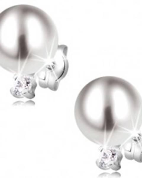 Zlaté náušnice 585 - biela perla a žiarivý okrúhly zirkón, biele zlato