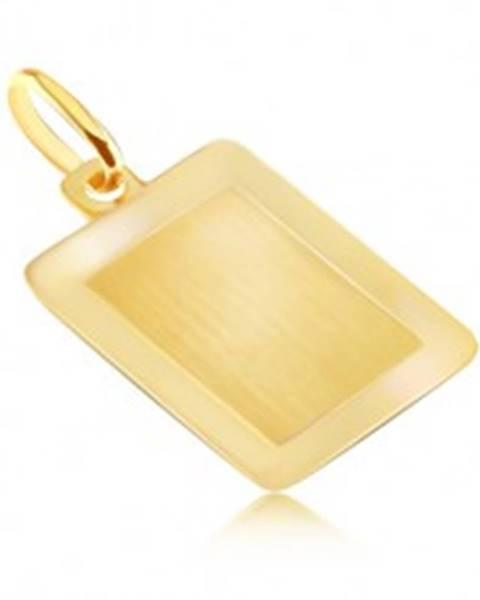 Zlatý 14K prívesok - hladká obdĺžniková známka s lesklým rámom GG04.12