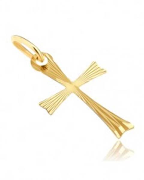 Zlatý prívesok 585 - krížik s rozdvojenými ramenami s lúčmi GG07.20