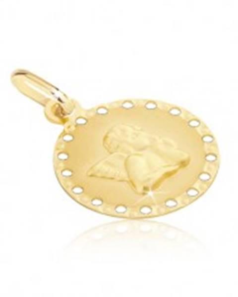 Zlatý prívesok 585 - okrúhla známka s malými otvormi a anjelikom