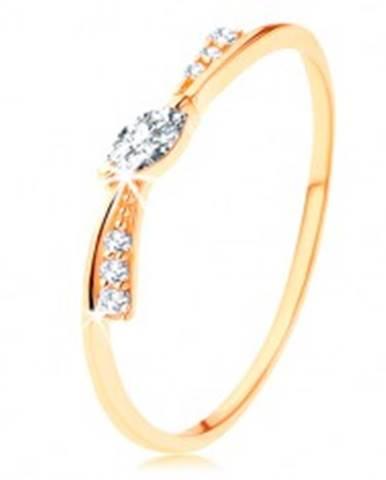 Prsteň v žltom 14K zlate - úzka mašlička zdobená čírymi zirkónmi GG125.07/125.25/125.29 - Veľkosť: 49 mm