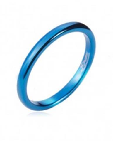 Prsteň z tungstenu - hladká modrá obrúčka, zaoblená, 2 mm L7.05 - Veľkosť: 47 mm