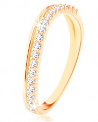 Prsteň zo žltého 14K zlata - hladká a číra zirkónová zvlnená línia - Veľkosť: 49 mm