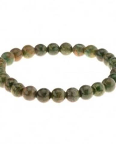 Pružný náramok na ruku, korálky v zelených odtieňoch, gumička Z42.8