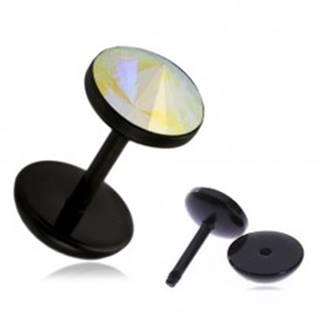 Akrylový fake plug do ucha - dúhový kamienok PC31.19