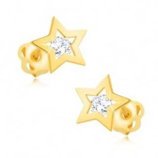 Briliantové náušnice zo žltého 14K zlata - obrys hviezdičky, číry diamant BT502.04