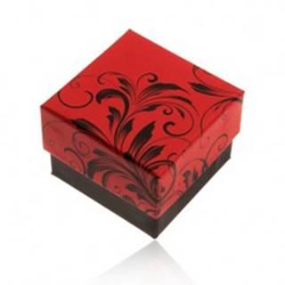Červeno-čierna darčeková krabička na prsteň, motív kvetinových ornamentov Y28.2