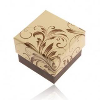 Darčeková krabička na prsteň - motív popínavých listov, žlto-hnedá kombinácia