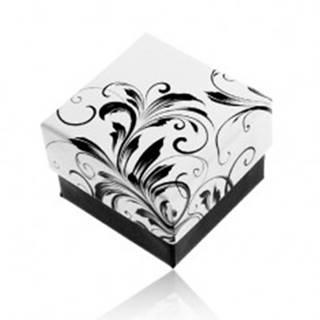 Darčeková krabička na prsteň, vzor popínavých listov, čierno-biela kombinácia Y28.4