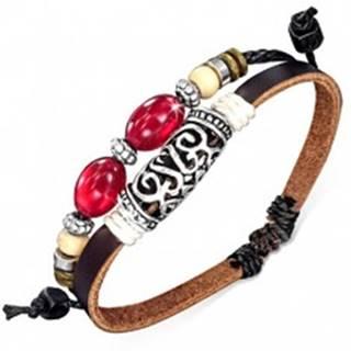 Dvojitý náramok na ruku - hnedý pás, šnúrka, ozdobný valček, korálky AC10.12