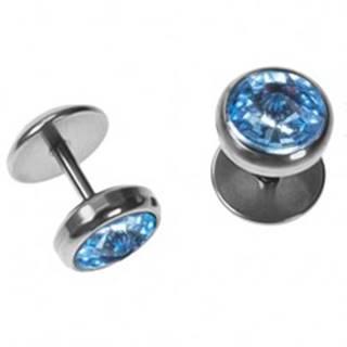 Fake plug do ucha z ocele - pyramídovo brúsený zirkón svetlo-modrej farby