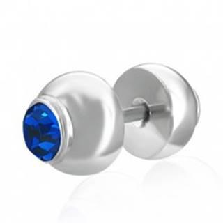 Fake plug do ucha z ocele - vsadený modrý zirkón