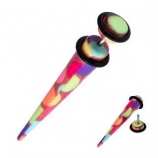 Fake taper do ucha - akrylový, farebné kruhy