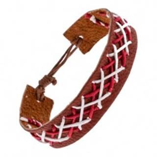Kožený náramok na ruku hnedej farby - prepletené šnúrky dvoch farieb Y52.20