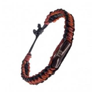 Kožený náramok na ruku - pletený, čierny okraj, hnedý ozdobný valček AC4.03