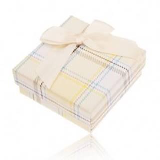 Krabička na prsteň, náušnice a prívesok, žltý károvaný vzor, mašľa
