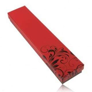 Krabička na retiazku a hodinky, červeno-čierne prevedenie, ornament kvetov