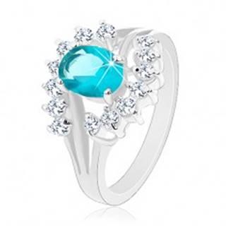 Lesklý prsteň s rozvetvenými ramenami, svetlomodrý zirkónový ovál, číre oblúky - Veľkosť: 50 mm