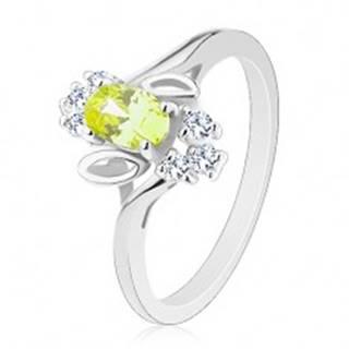 Ligotavý prsteň, svetlozelený oválny zirkón, lístočky, číre zirkóniky - Veľkosť: 61 mm