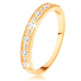 Ligotavý prsteň v žltom 14K zlate - línia čírych zirkónov s vrúbkovaným lemom - Veľkosť: 49 mm
